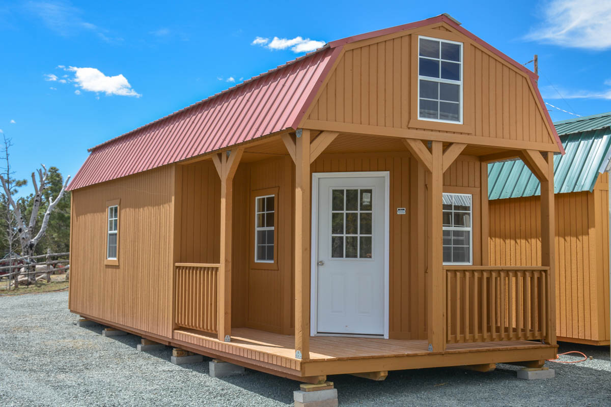 New building 12 x32 wrap around porch lofted barn cabin for Cabin with wrap around porch